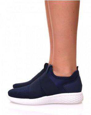 Baskets effet chaussette en toile bleue marine pailletée