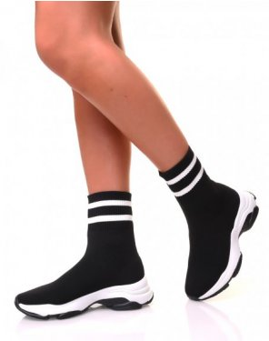 Baskets effet chaussette noires à rayures blanches