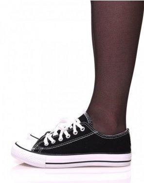 Baskets en toile noires à lacets blancs et liserés noirs