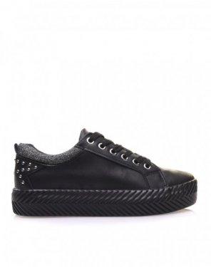 Baskets noires semelles épaisses à motifs