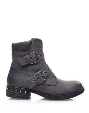 Boots grises à sangles bouclées