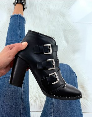 Bottines à talon noires à multiples sangles cloutées