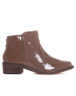 Bottines marron vernies et croco