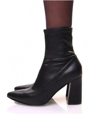 Bottines noires à talons carrés et bouts pointus effet chaussette