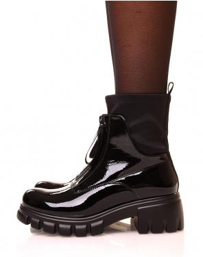 Bottines noires vernies a zip effet chaussette