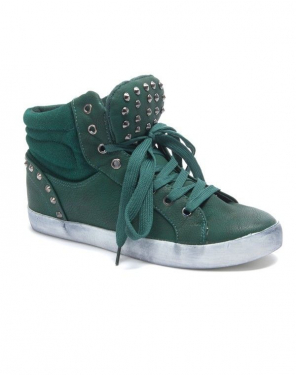 Chaussure femme Sinly: Basket clouté semelle vintage vert