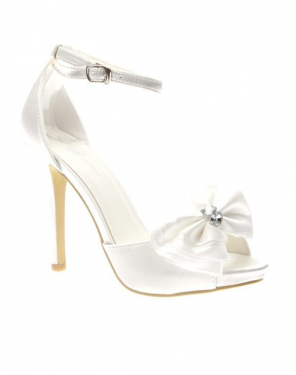 Chaussure femme Style Shoes: Escarpin satiné blanc