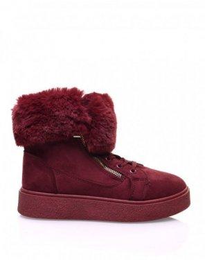 Chaussures bordeaux montantes fourrées