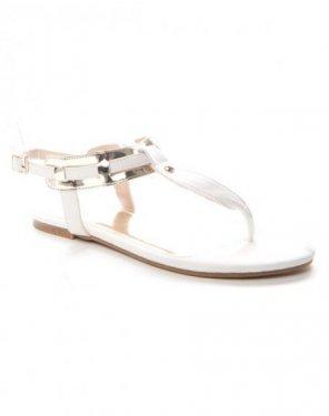 Chaussures femme Alicia: Tong à lanière dorée - blanc