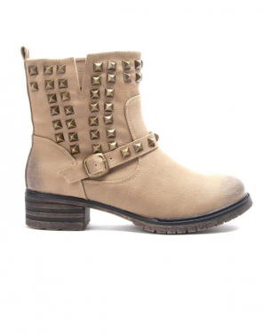 Chaussures femme Sinly: Bottine clouté - taupe