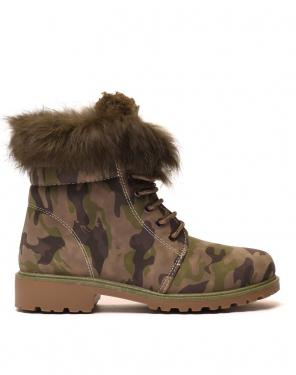 Chaussures montantes à lacets & fourrées camouflage