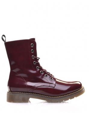 Chaussures montantes vernis bordeaux