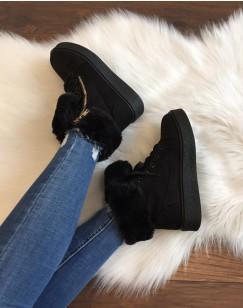 Chaussures noires montantes fourrées