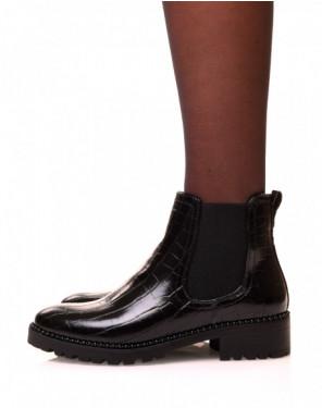 Chelsea boot noires effet croco et à détails perlés