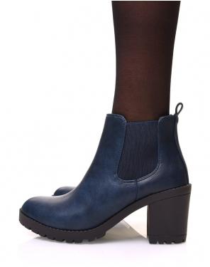 Chelsea boots bleues à talons