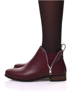 Chelsea boots bordeaux avec détails fermeture éclaire