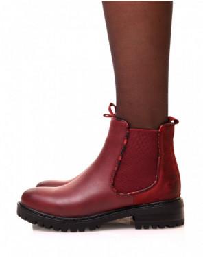 Chelsea boots bordeaux bi-matières à détails effet python