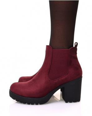 Chelsea boots bordeaux en suédine à talon mi haut