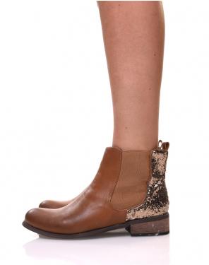 Chelsea boots camel à paillettes