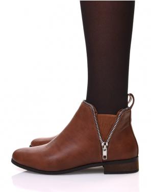 Chelsea boots camel avec détails fermeture éclaire