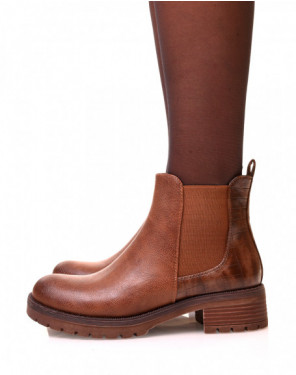 Chelsea boots camel avec élastique bi-matières