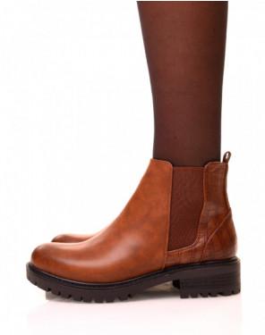 Chelsea boots camel bi-matières à semelles crantées
