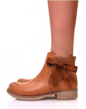 Chelsea boots camelles avec noeuds