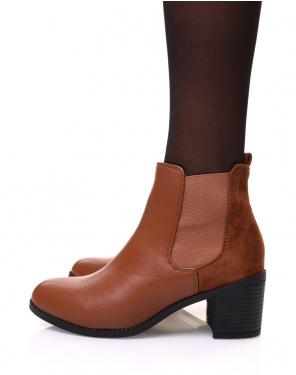 Chelsea boots camelles bi matières à talon mi haut