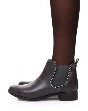 Chelsea boots grises à perles