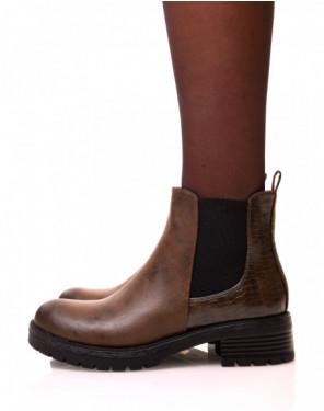 Chelsea boots kaki avec élastique bi-matières