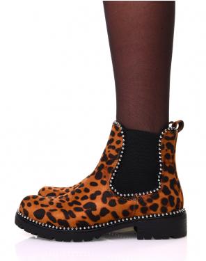 Chelsea boots léopard à clous