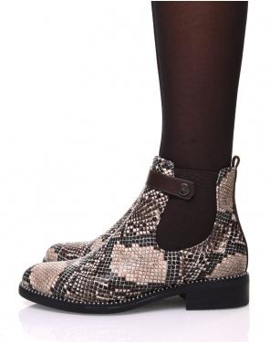 Chelsea boots marron imprimé serpent