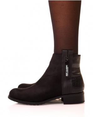 Chelsea boots noir bi matière