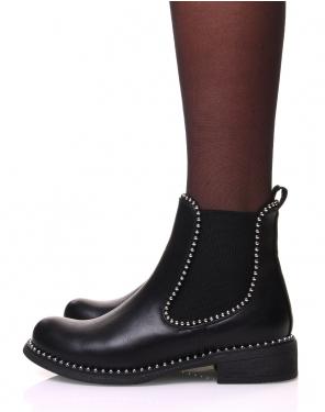 Chelsea boots noir effet cuir à clous