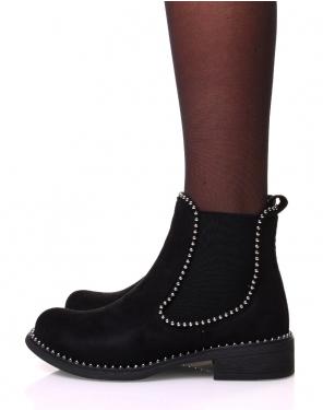 Chelsea boots noir en suédine à clous