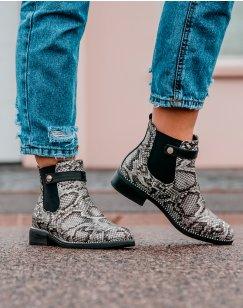 Chelsea boots noir imprimé serpent