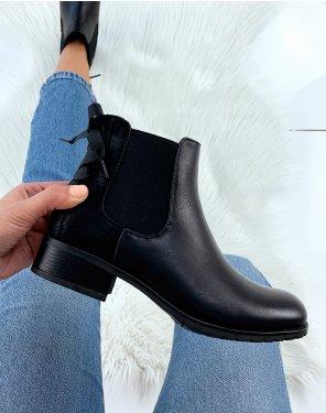 Chelsea boots noires à noeuds