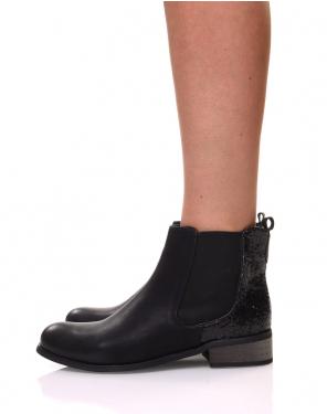 Chelsea boots noires à paillettes