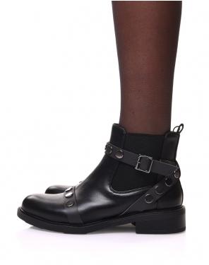Chelsea boots noires à sangles cloutées