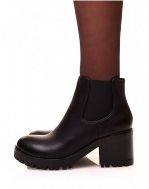 Chelsea boots noires à semelles crantées