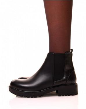 Chelsea boots noires bi-matières à semelles crantées