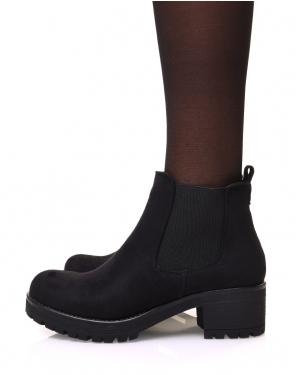 Chelsea boots noires en suédine à talon mi haut