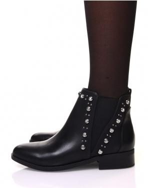 Chelsea boots noires ornées de strass