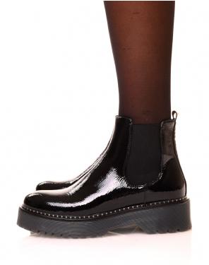 Chelsea boots noires vernies