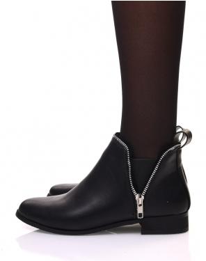 Chelsea boots noirs avec détails fermeture éclaire