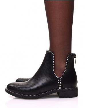Chelsea boots sans élastique texturé perlées de petits clous