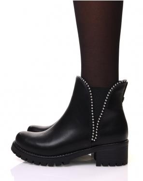 Chelsea boots semelles crantées noires à clous ronds