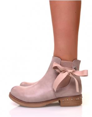 Chelsea boots vieux roses avec noeuds