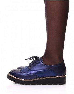 Derbies bleues bi matières
