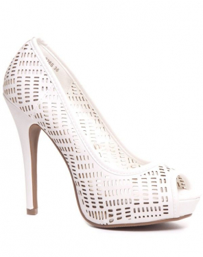 Escarpin blanc peep toe perforé